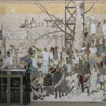 Bert Heller A Szovjetunió népeinek életéből című mozaikja a Moszkva kávéház bejárati falán / Fotó: Vékony Zsolt